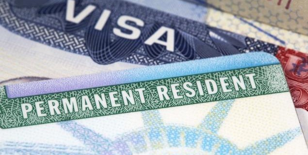 Stock image of a green card. Permanent Resident card for the u.s.a
